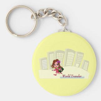 Porte - clé de voyageur du monde porte-clé rond