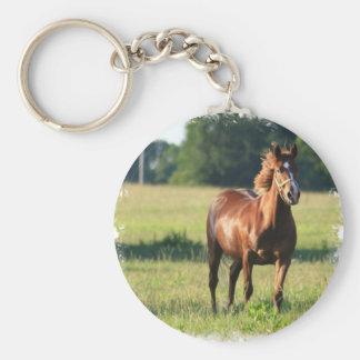 Porte - clé debout de cheval de châtaigne porte-clé rond