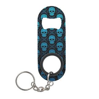 Porte-clé Décapsuleur Motif bleu et noir de crâne de sucre