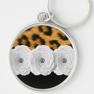 Porte - clé d'empreinte de léopard porte-clé rond argenté