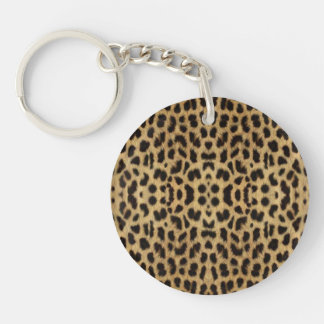 Porte - clé d'empreinte de léopard porte-clé rond en acrylique double face