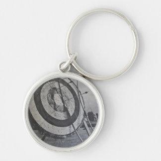 Porte - clé d'équipement de tir à l'arc porte-clé rond argenté