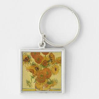 """Porte - clé des """"tournesols"""" de Vincent van Gogh Porte-clé Carré Argenté"""
