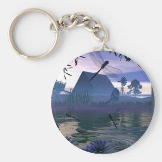Porte - clé d'étang de libellule porte-clé rond