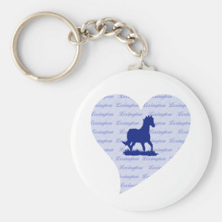 Porte - clé d'état de Bluegrass de coeur de cheval Porte-clé Rond
