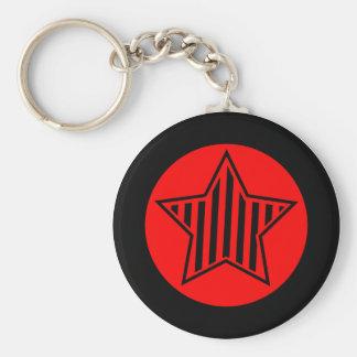 Porte - clé d'étoile de rouge et de noir porte-clé rond