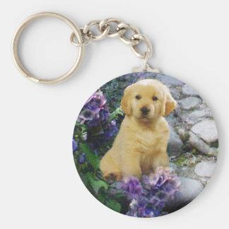 Porte - clé d'hortensia de golden retriever porte-clé rond