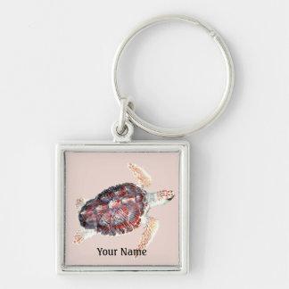 Porte - clé d'imbécile de tortue de mer porte-clé carré argenté