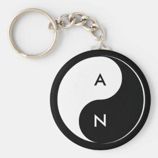 Porte - clé d'initiales d'amants de Yin Yang Porte-clé Rond