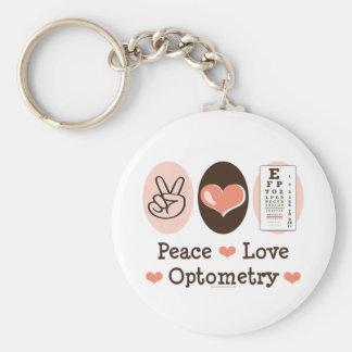 Porte - clé d'optométrie d'amour de paix porte-clé rond