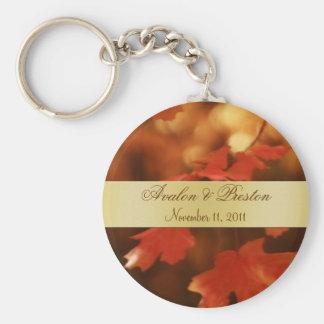 Porte - clé d'or de faveur de mariage de feuille porte-clé rond