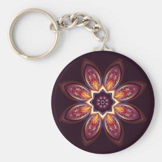 Porte - clé d'or de fractale de Lotus Porte-clé Rond