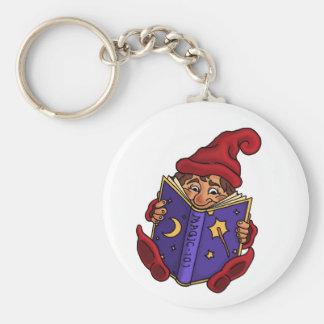 porte - clé drôle de gnome de lecture porte-clé rond