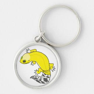 porte - clé du gecko 2 de léopard porte-clé rond argenté