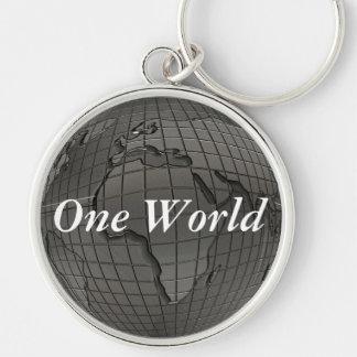 Porte - clé du monde du jour de la terre un porte-clé rond argenté