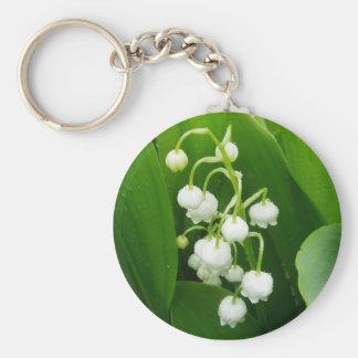 Porte - clé du muguet de fleurs blanches porte-clé rond
