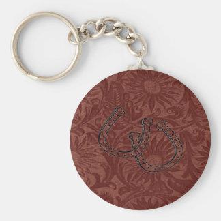 Porte - clé en cuir de ~ de fers à cheval de porte-clé rond