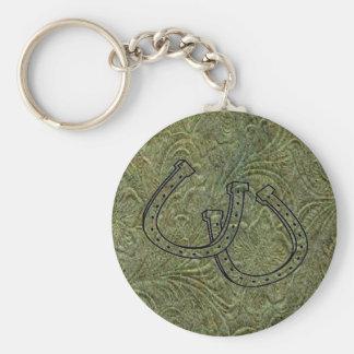 Porte - clé en cuir de la conception W/Horseshoes Porte-clé Rond
