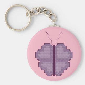 Porte - clé en forme de coeur de papillon porte-clé rond