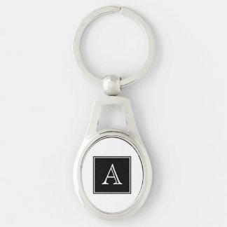 Porte - clé en métal de monogramme de carré noir porte-clé ovale argenté