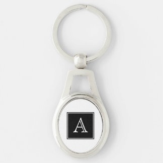 Porte - clé en métal de monogramme de carré noir porte-clés