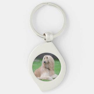 Porte - clé en métal de photo de chien de lévrier porte-clé swirl argenté