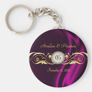 Porte - clé en soie rose de perle de rouleau d'or porte-clé rond