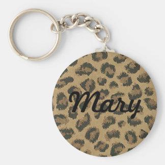 Porte - clé fait sur commande de peau de léopard porte-clé rond