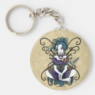 Porte - clé féerique d'art de colibri gothique de porte-clé rond