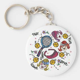 Porte - clé - filles de tennis porte-clé rond