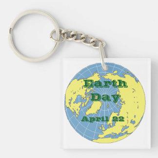 Porte - clé - globe pour célébrer le jour de la porte-clé carré en acrylique une face