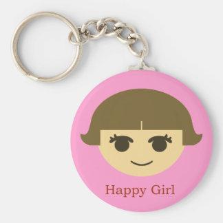 Porte - clé heureux de fille porte-clé rond