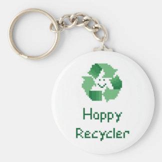Porte - clé heureux de recycleur porte-clé rond
