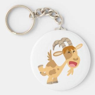 Porte - clé heureux mignon de chèvre de bande porte-clé rond