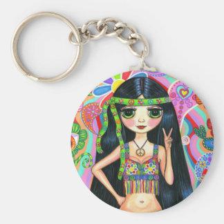 Porte - clé hippie de fille de signe de paix porte-clé rond