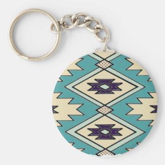 Porte - clé indigène de motif de chef porte-clé rond