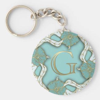 Porte - clé initial d'or floral unique porte-clé rond