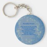 Porte - clé inspiré de coeurs bleus de prière de porte-clé rond