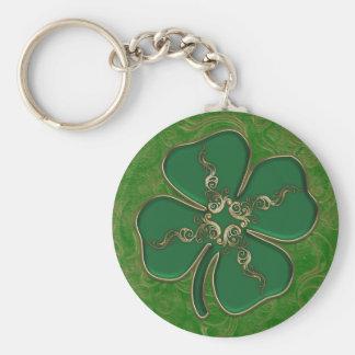 Porte - clé irlandais chanceux de shamrock porte-clé rond