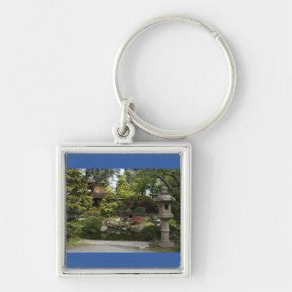Porte - clé japonais de prime du jardin de thé de porte-clé carré argenté