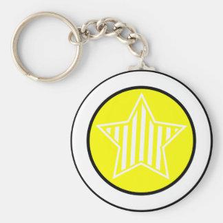 Porte - clé jaune et blanc d'étoile porte-clé rond