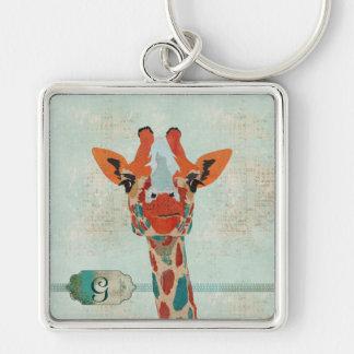 Porte - clé jetant un coup d'oeil ambre de girafe porte-clé carré argenté