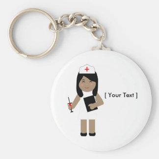 Porte - clé mignon de l'infirmière une porte-clé rond