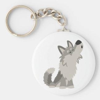Porte - clé mignon de loup de bande dessinée porte-clé rond
