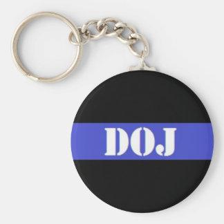 Porte - clé mince de police de DOJ Blue Line Porte-clés