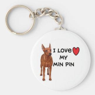 """Porte - clé minimum de Pin """" j'aime mon Pin de Porte-clé Rond"""