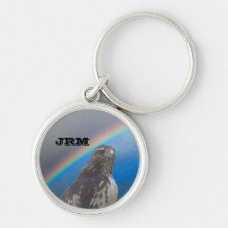 Porte - clé - monogramme avec la tête et porte-clé rond argenté