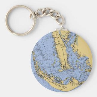 Porte - clé nautique de diagramme de la Floride Porte-clé Rond