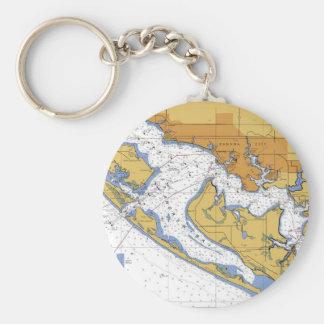 Porte - clé nautique de diagramme de port de porte-clé rond