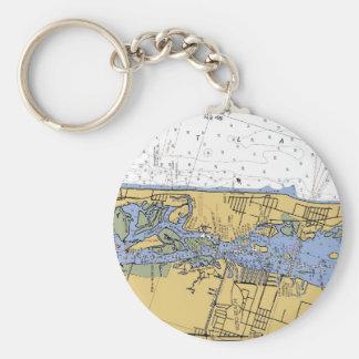 Porte - clé nautique de diagramme de port de Vero Porte-clé Rond
